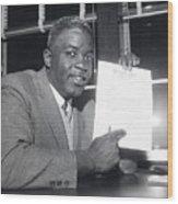 Jackie Robinson Retires 1957 Wood Print