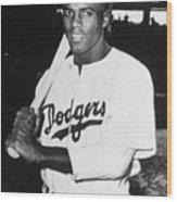 Jackie Robinson Rookie Dodgers Portrait Wood Print
