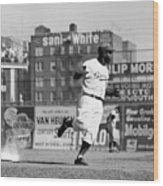 Jackie Robinson Rounds The Bases Wood Print