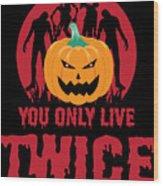 Jackolantern Scary Ghost Zombie Pumpkin Halloween Dark Wood Print