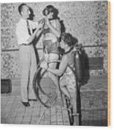 Jacques Cousteau Demonstrates Aqua-lung Wood Print