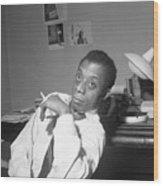 James Baldwin Sitting Smoking Wood Print
