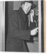James Stewart Stops To Make A Call At Wood Print