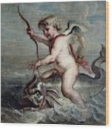 Jan Erasmus Quellinus / 'cupid On A Dolphin', Ca. 1630, Flemish School. Jan-erasmus Quellinus . Wood Print