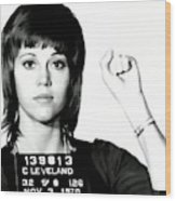 Jane Fonda Mug Shot Wood Print
