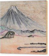 Japan Art And Mount Fuji - Suzuki Kiitsu In Color By Sawako Utsumi Wood Print
