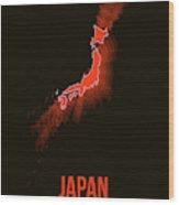 Japan Radiant Map I Wood Print