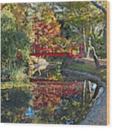 Japanese Garden Red Bridge Reflection Wood Print