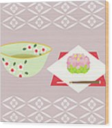 Japanese Tea And Sweets, Painting Wood Print