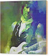 Jeff Beck, Love Is Green Wood Print