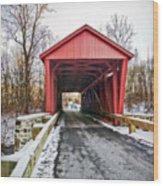 Jericho Covered Bridge Snow Wood Print