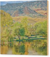 Jerome Reflected In Deadhorse Ranch Pond Wood Print