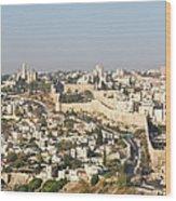 Jerusalem City Wall From A Distance Wood Print