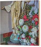 Jesus Christ With Flowers Wood Print