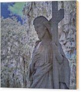 Jesus Graveyard Statue Wood Print