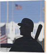 Jeter Takes Batting Practice Wood Print