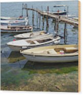 Jetty With Moored Boats.  Porec Wood Print