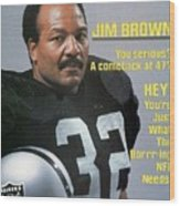 Jim Brown, Retired Football Player Sports Illustrated Cover Wood Print
