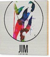 Jim Watercolor Poster Wood Print