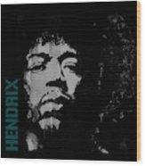 Jimi Hendrix - Retro Black  Wood Print