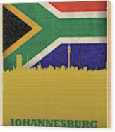 Johannesburg South Africa World City Flag Skyline Wood Print