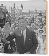 John F. Kennedy Greeting Crowd Wood Print