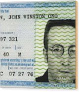 John Lennon Immigration Green Card 1976 Wood Print