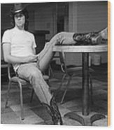 John Travolta, With His Hat And Boots Wood Print