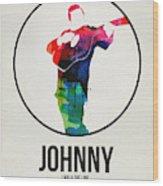 Johnny Cash Watercolor Wood Print