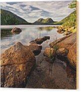 Jordan Pond Rocks Wood Print