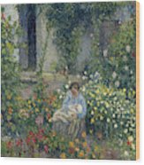 Julie And Ludovic-rodolphe Pissarro Among The Flowers, 1879 Wood Print