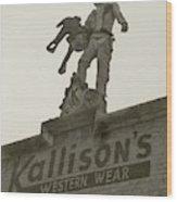 Kallison Cowboy Still Stands In San Antonio Wood Print