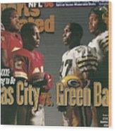 Kansas City Chiefs Vs Green Bay Packers, 1996 Nfl Football Sports Illustrated Cover Wood Print