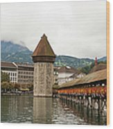 Kapellbrucke On Reuss River, Lucerne Wood Print