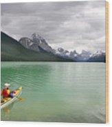 Kayaking In Banff National Park, Canada Wood Print
