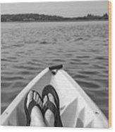 Kayaking In Black And White Wood Print