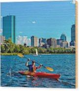 Kayaking On The Charles Wood Print