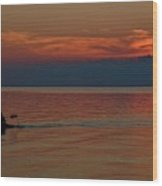Kayak's Sunset Paradise Wood Print