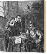 Kepler And Brahe At Work Together Wood Print