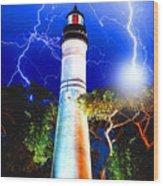 Key West Lightning Light House Wood Print