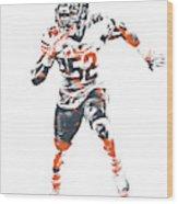 Khalil Mack Chicago Bears Pixel Art 1 Wood Print