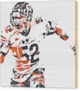 Khalil Mack Chicago Bears Pixel Art 30 Wood Print