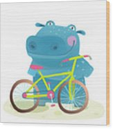 Kid Cute Hippo With Bicycle Childish Wood Print