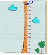 Kids Height Scale In Giraffe Vector Wood Print