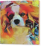 King Charles Spaniel On The Move Wood Print