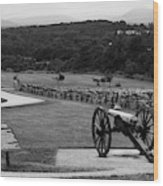 King William Artillery Marker In Black And White Gettysburg Wood Print
