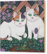 Kittens And Clover Wood Print