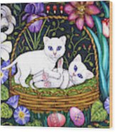 Kittens In A Basket Wood Print