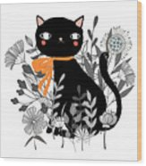 Kitty Kitty Sitting Pretty With Flowers All Around Wood Print