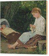 Knitting Girl Watching The Toddler Wood Print